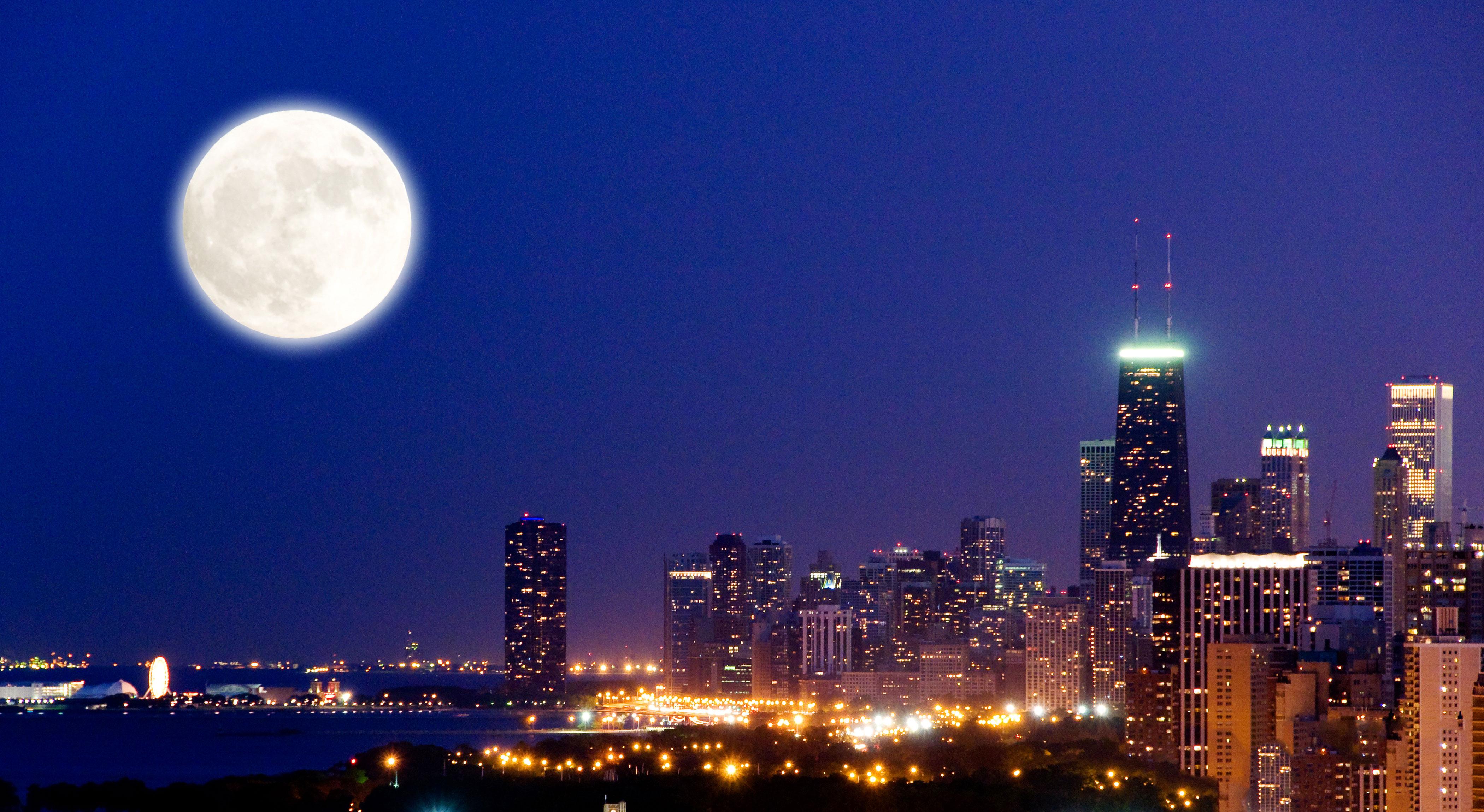 my history-Chicago skyline at night