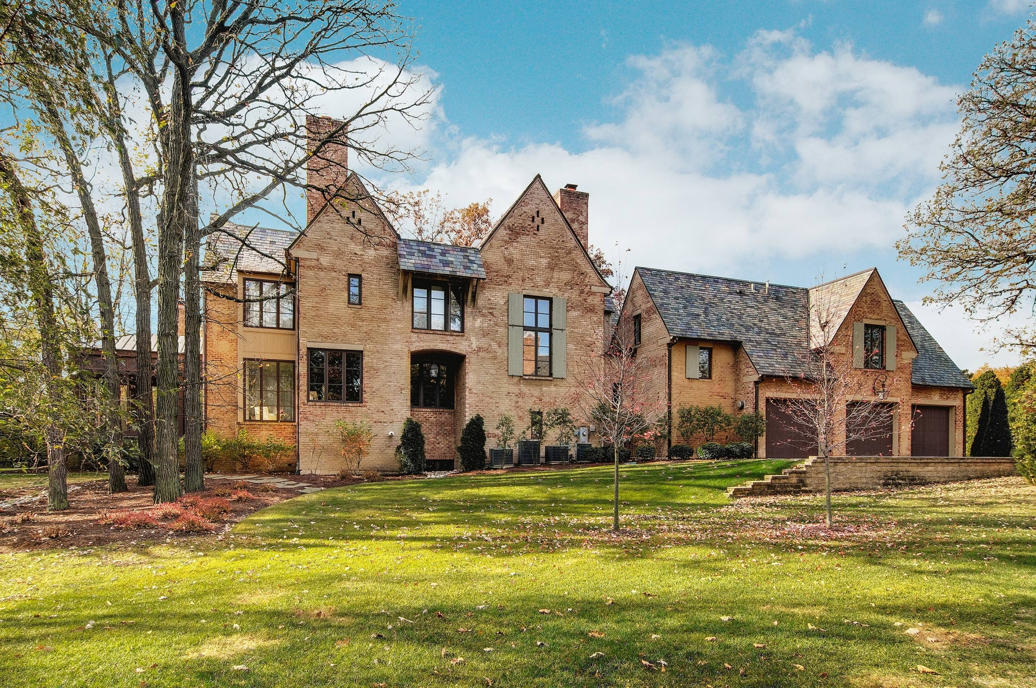 Rear exterior view of French country home