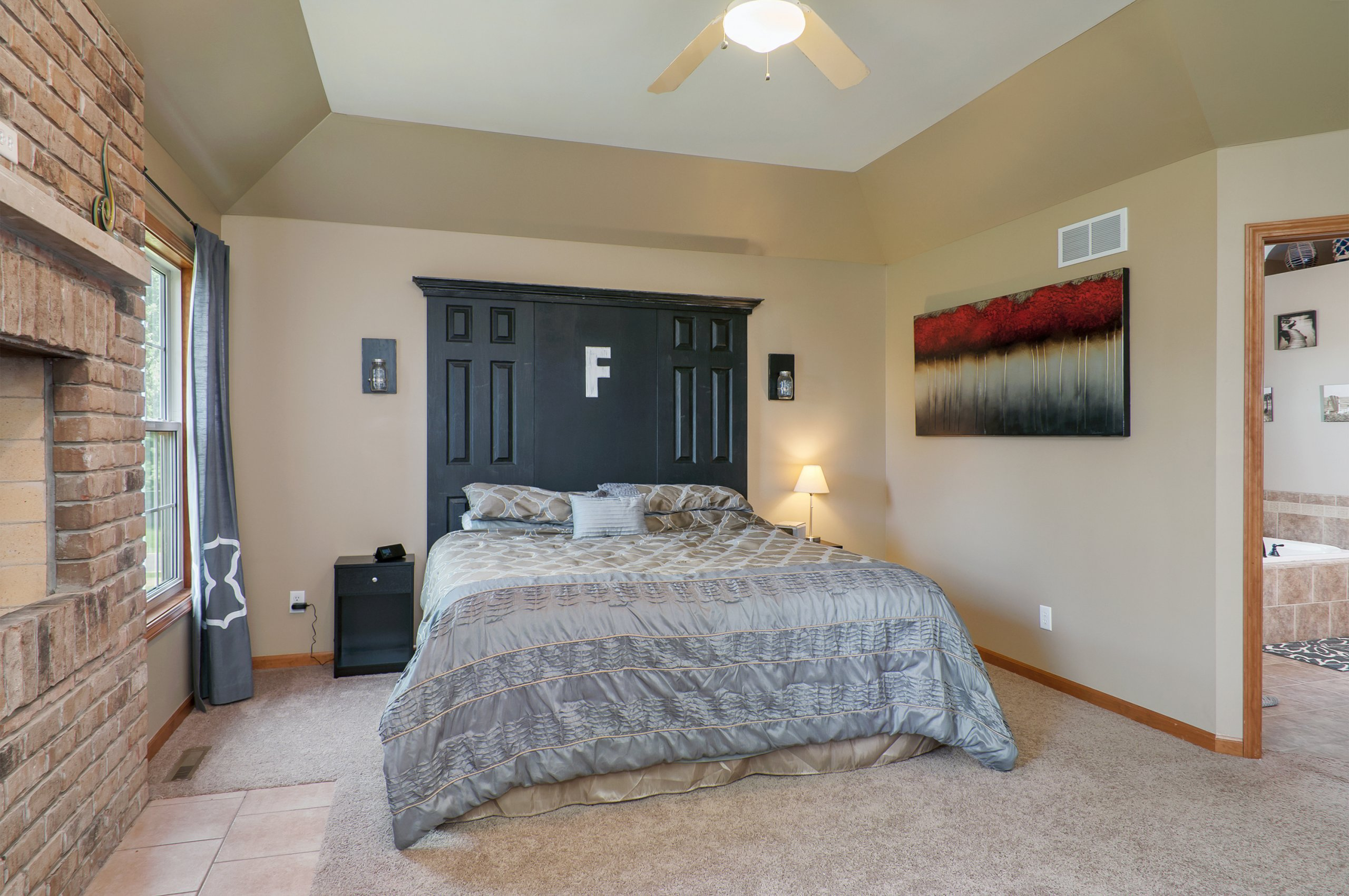 Master bedroom interior at high end home in Sheridan, IL