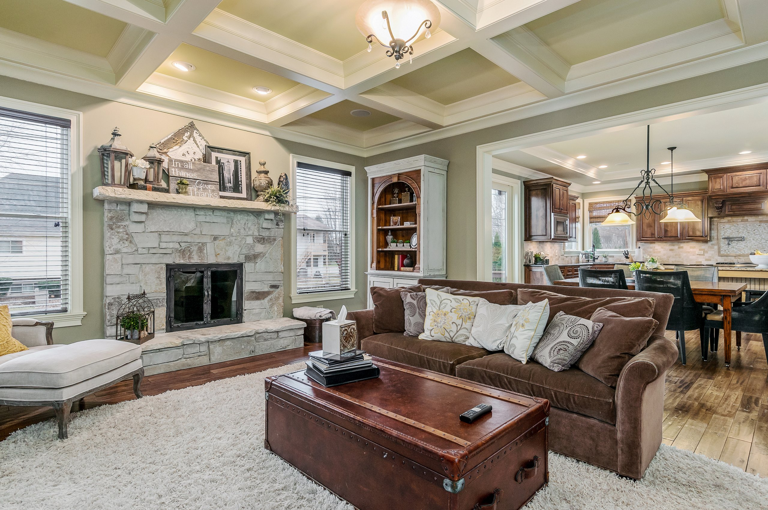 An upscale Naperville, Illinois living room