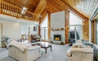 A gorgeous vaulted living room in Sheridan, Illinois