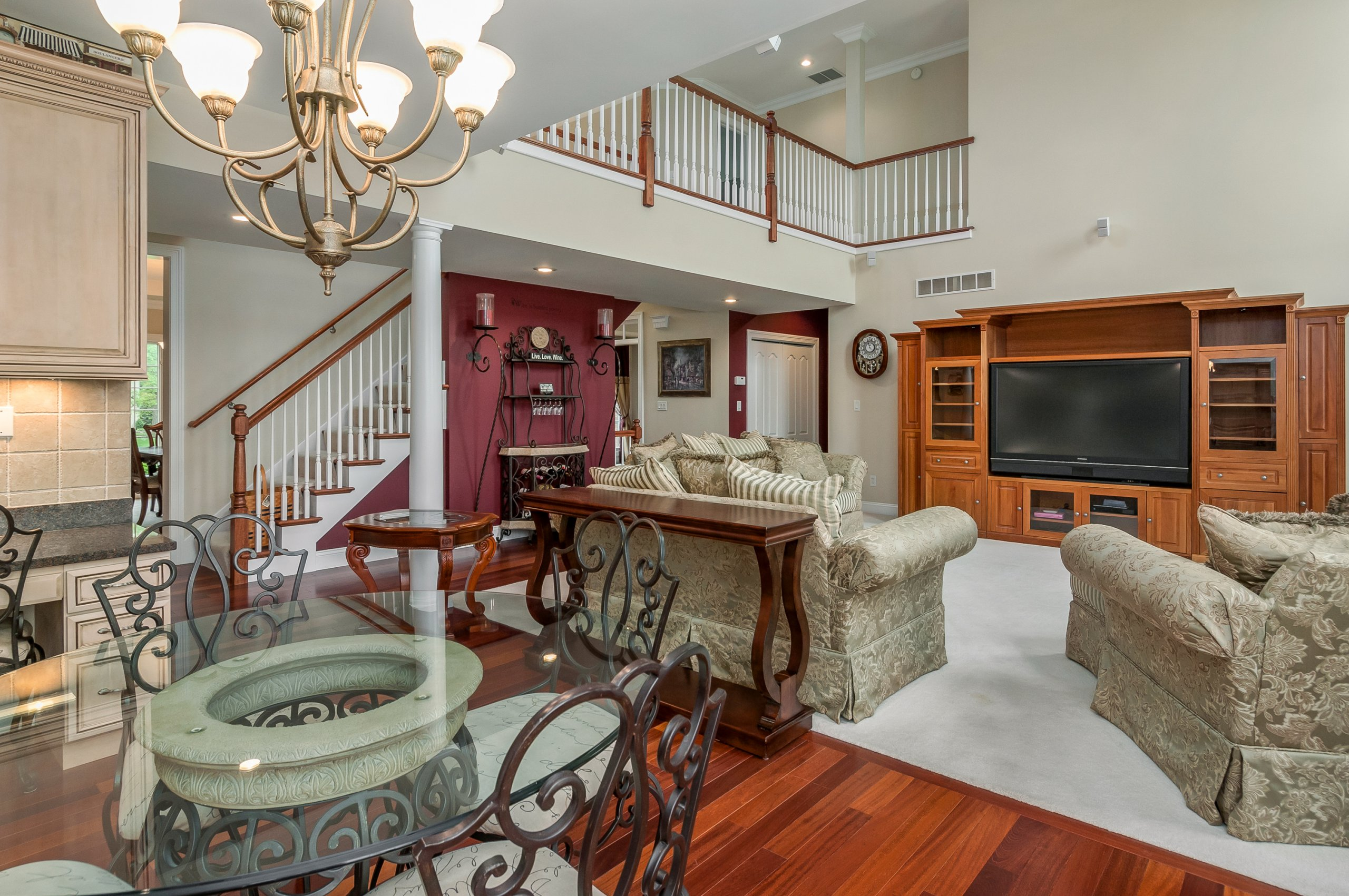 Large, two story living room at estate home in Sandwich, IL