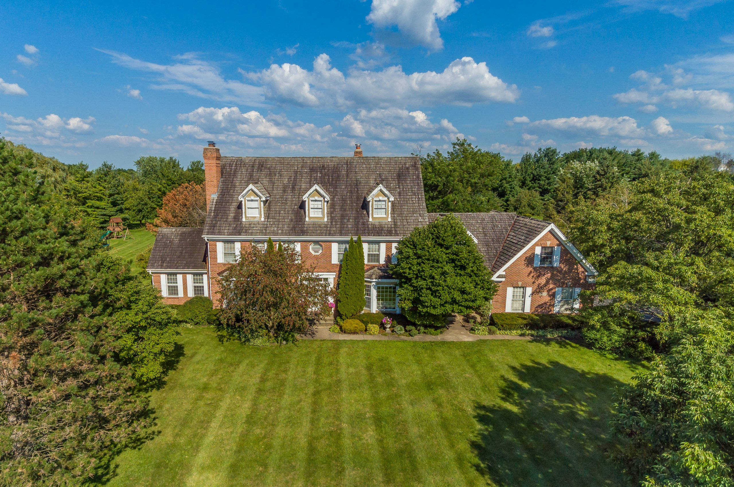 Drone aerial exterior photograph of St. Charles, Illinois estate