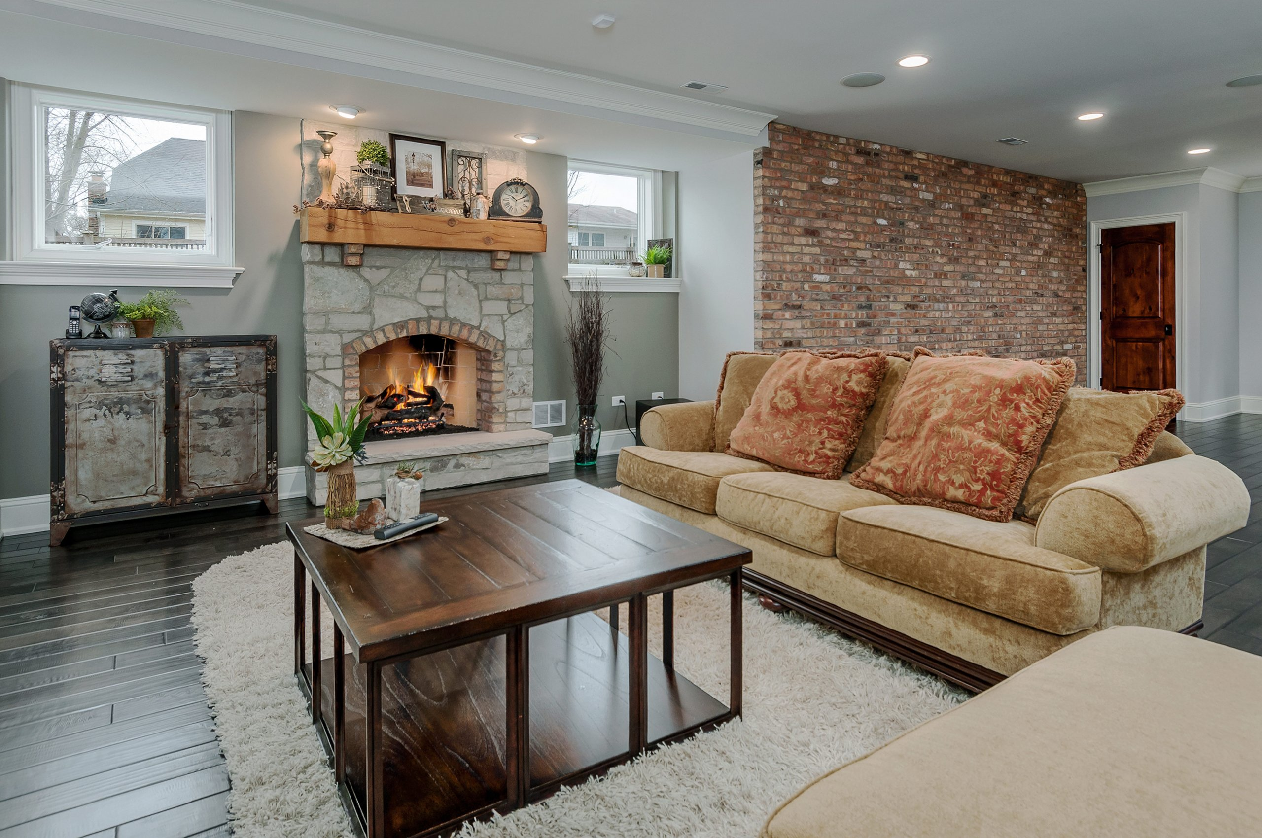 Cozy family room interior photography of upscale home in Naperville, IL.