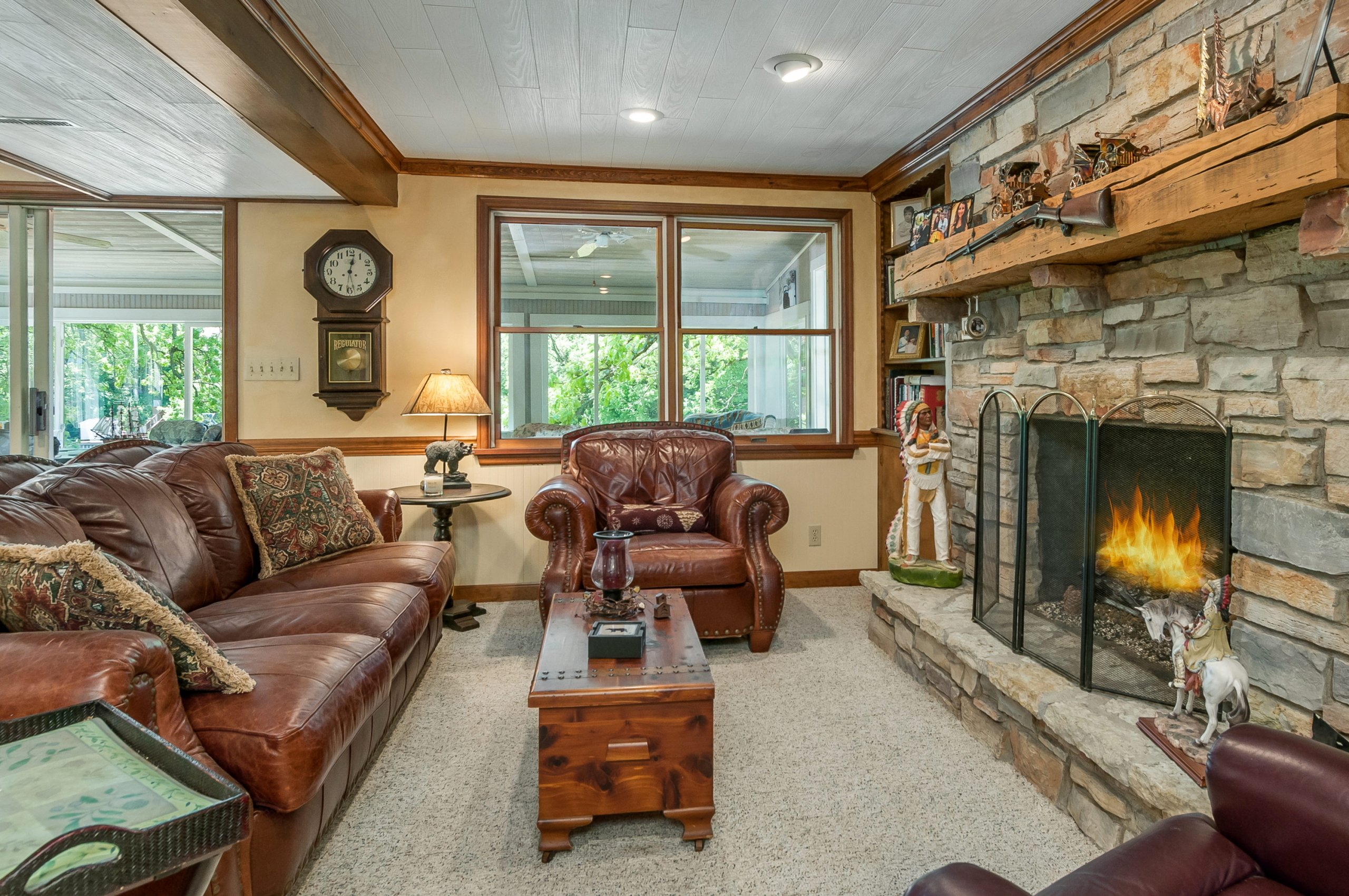 Basement den at 369 Holiday Dr., Somonauk, Illinois