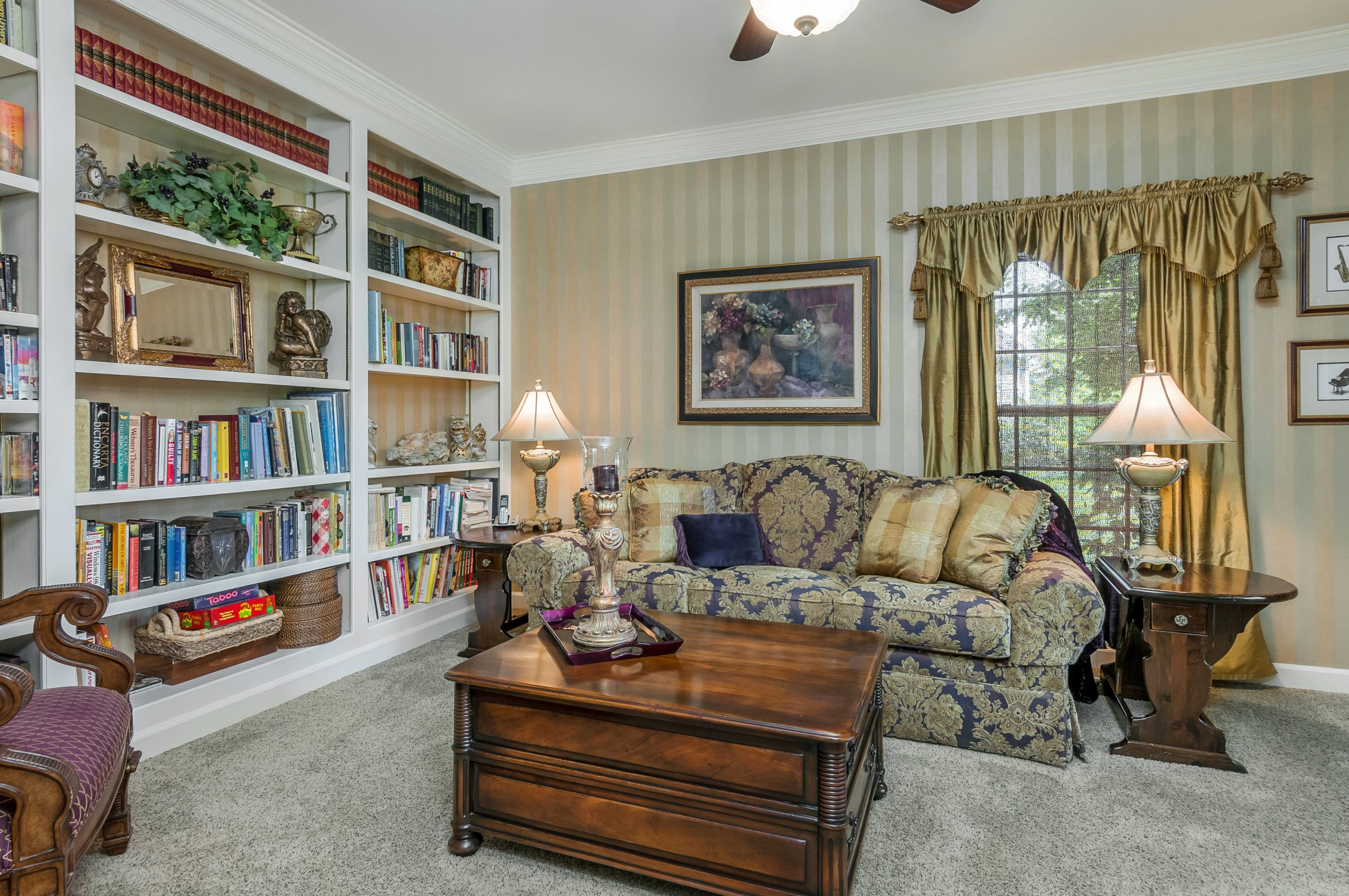 Elegant den and library at 6N025 Westwood Ln., St. Charles, Illinois