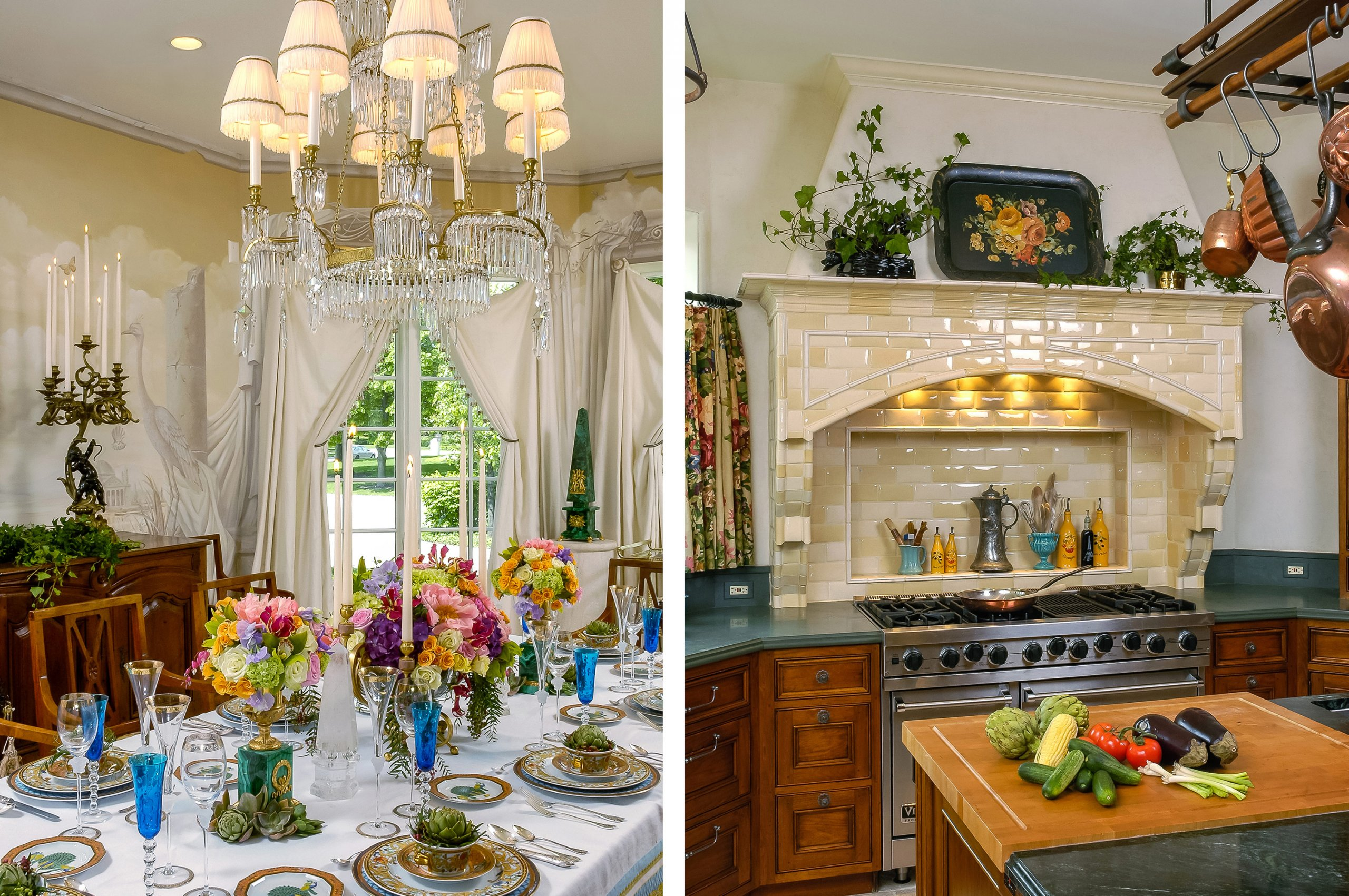 Combo shot of Oakbrook, Illinois mansion dining room and kitchen