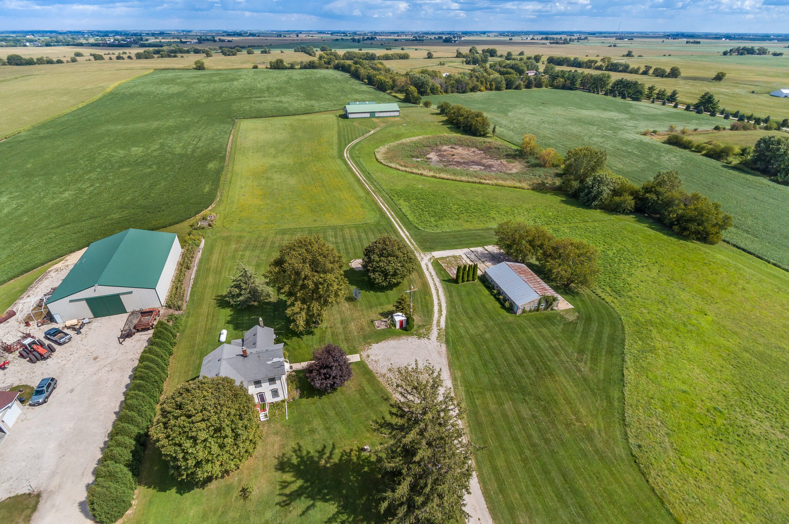 Chicago architectural and real estate drone aerial view of 9138 Lisbon Rd., Yorkville, IL