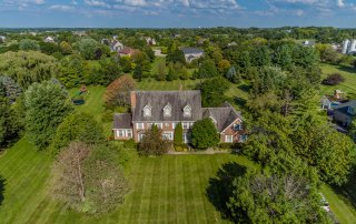 Chicago architectural exterior drone aerial photography of 6N025 Westwood Ln., St. Charles, Illinois.