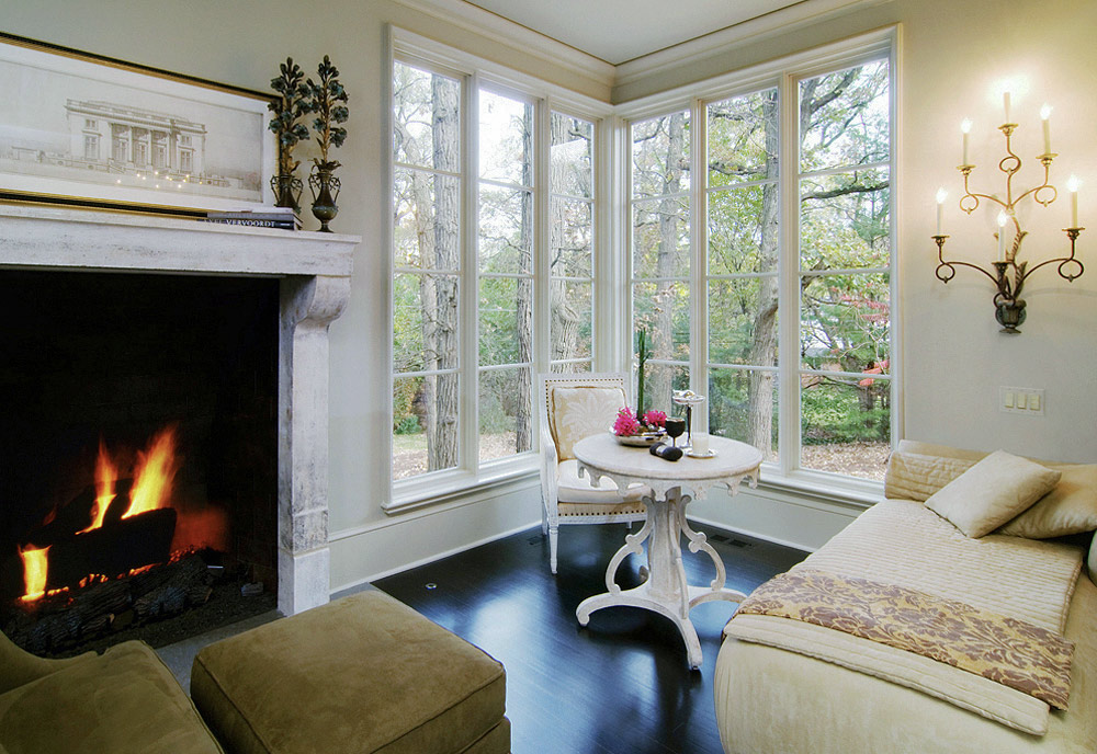 Chicago architectural and real estate photography. Cozy sitting room with fireplace small for front page.