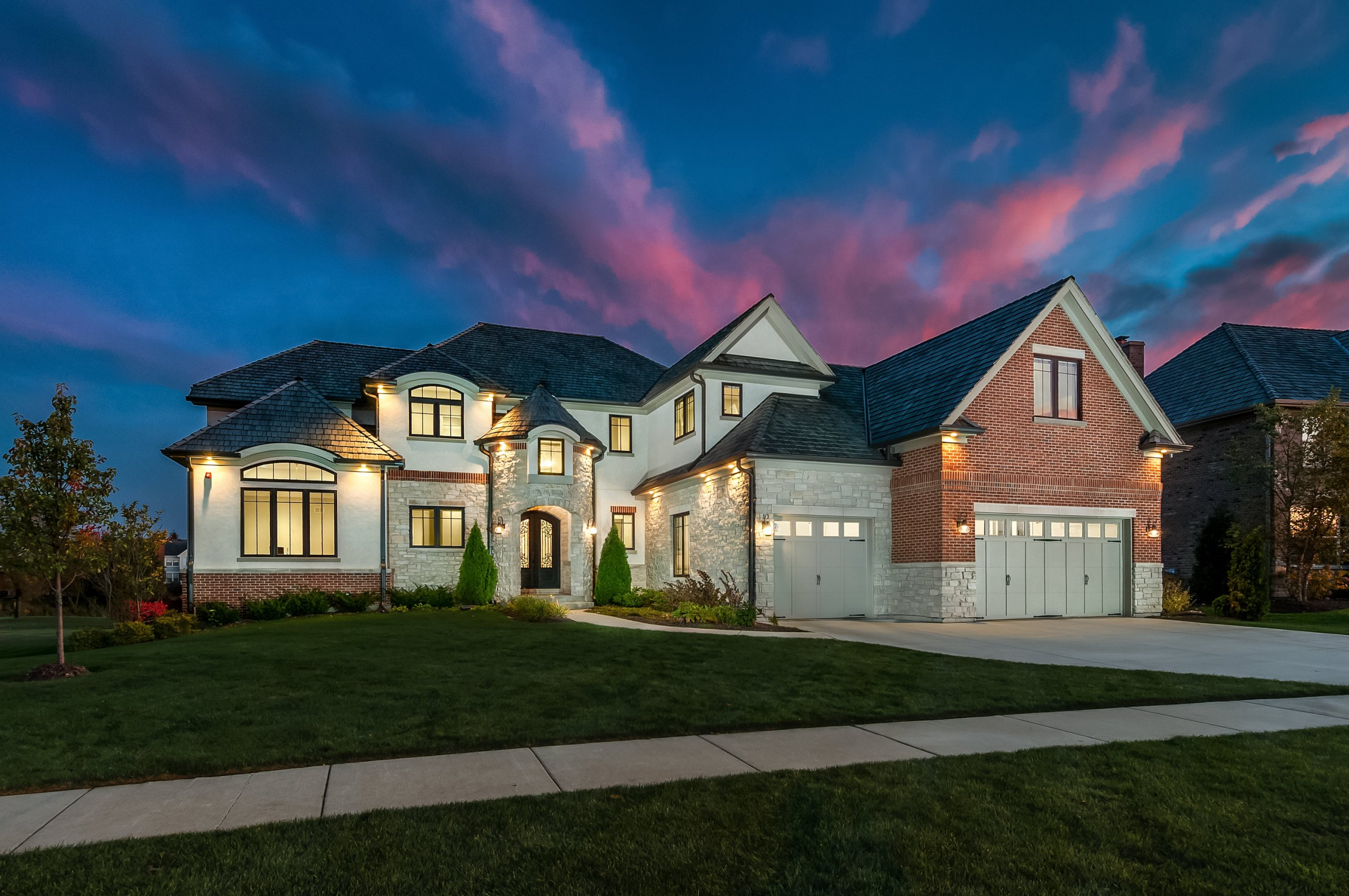 Twilight shot of 1616 Lake Charles Dr., Vernon Hills, Illinois