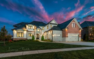 Twilight shot of 1616 Lake Charles Dr., Vernon Hills, Illinois with watermark