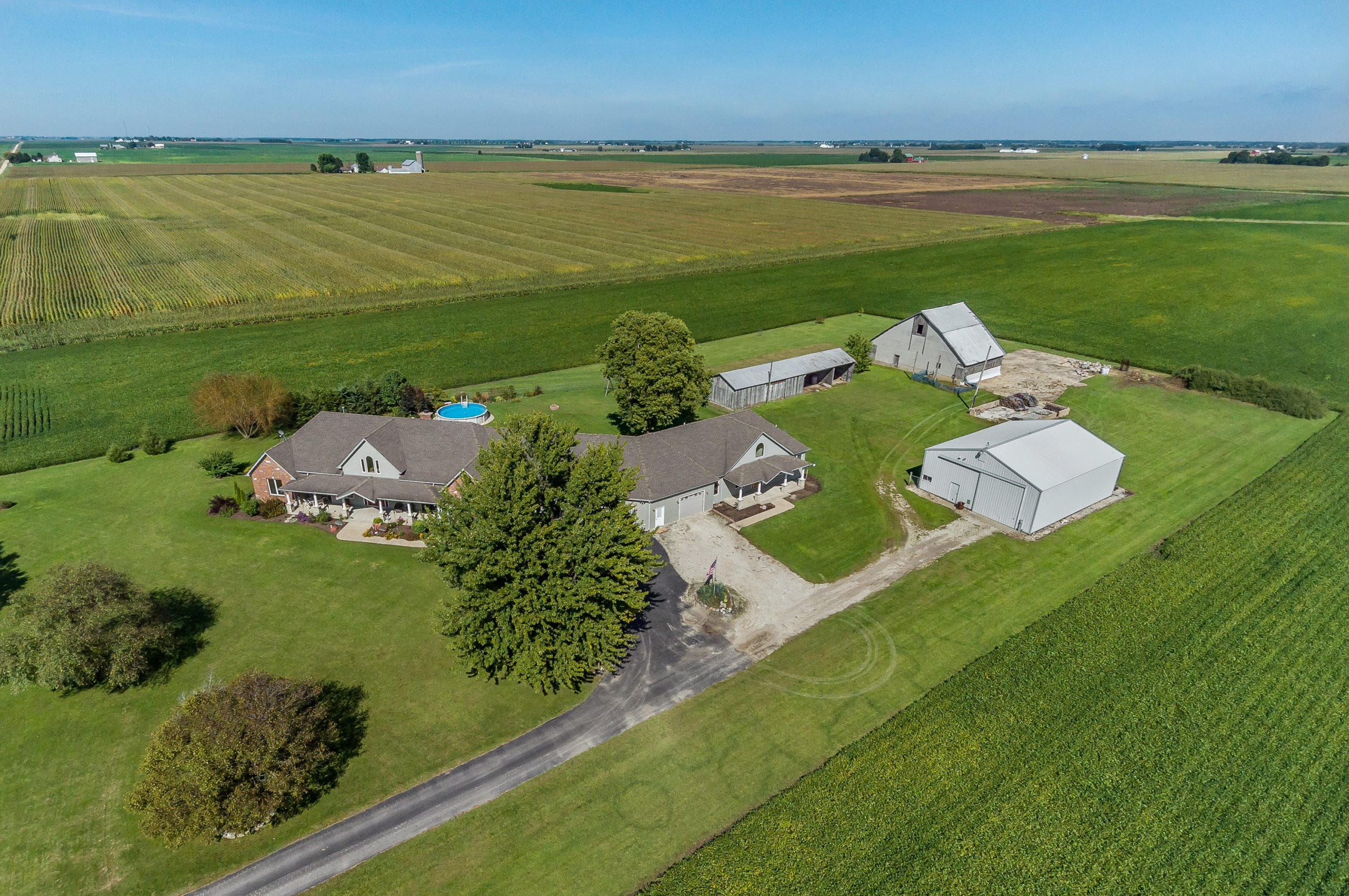 Drone aerial photo of large country estate in Somonauk, Illinois.