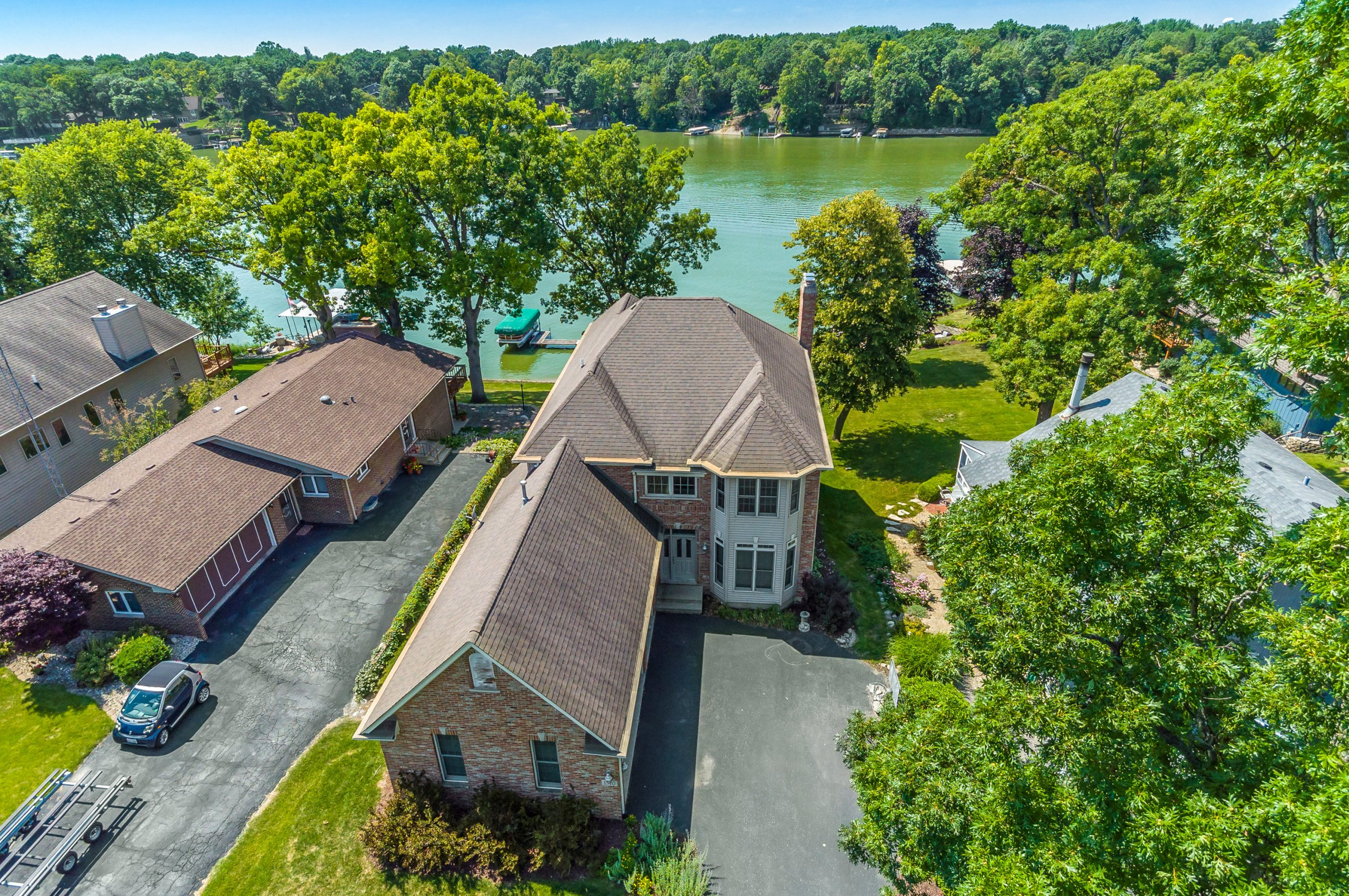 Drone aerial of Lake Holiday home on the lake, Sandwich, Illinois.